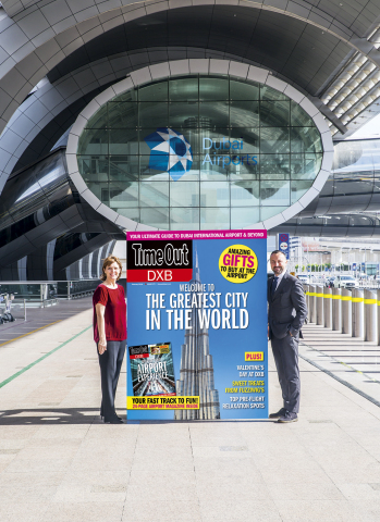 Sue Holt, Executive Director ITP Media Group and Eugene Barry, EVP Commercial at Dubai Airports with a larger than life Time Out DXB front cover (Photo: AETOSWire)