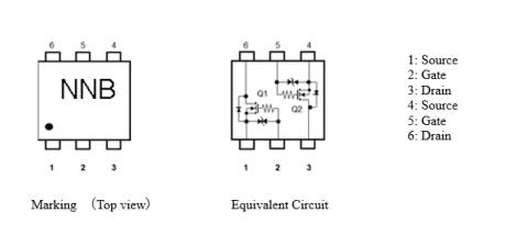 """东芝:双mosfet""""ssm6n813r""""标记电路和等效电路(图示:美国商业资讯)"""