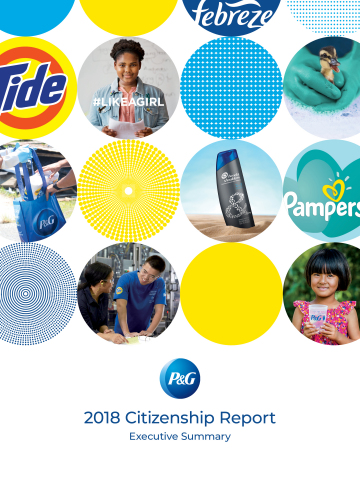 P&G issued its 2018 Citizenship Report, which highlights the Company's progress in its Citizenship priority areas of Community Impact, Diversity & Inclusion, Gender Equality and Environmental Sustainability, all of which are based in a foundation of Ethics and Corporate Responsibility. (Graphic: Business Wire)