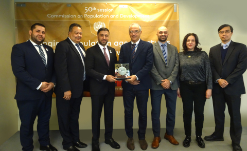 Ali Al-Khouri, CAEU Advisor (middle) with Vincenzo Aquaro, Chief, Digital Government Branch, Division for Public Institutions and Digital Government - UN DESA and officials from both sides (Photo: AETOSWire)