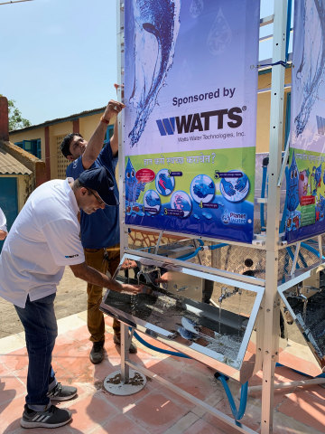 Watts – a leading global manufacturer of plumbing, heating, and water quality products and solutions – recently funded and helped install two water filtration systems that provide clean drinking water for children and families in need in India. (Photo: Business Wire)