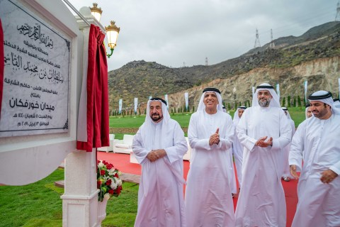 HH Sheikh Dr. Sultan bin Mohamed Al Qasimi, Supreme Council Member and Ruler of Sharjah, inaugurates the Khorfakkan Square, accompanied by HH Sheikh Saud bin Saqr Al Qasimi, Supreme Council Member and Ruler of Ras Al Khaimah, and HH Sheikh Sultan bin Mohammed bin Sultan Al Qasimi, Crown Prince and Deputy Ruler of Sharjah. (Photo: AETOSWire)