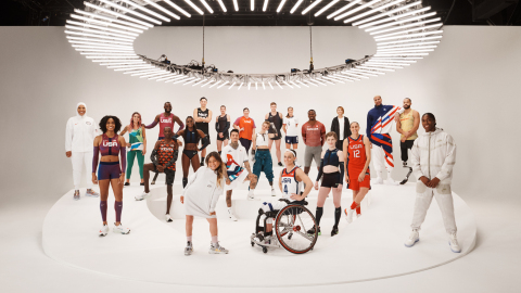 An international group of athletes joined the Nike 2020 Forum in New York to unveil the brand's latest performance and sustainable innovations. From left to right: Ibtihaj Muhammad, English Gardner, Leticia Bufoni, Blake Leeper, Timothy Cheruiyot, Dina Asher-Smith, Tomoya Ochiai, Sky Brown, Chris Mosier, Nyjah Huston, DeAnna Price, Bebe Vio, Kevin Mayer, Megan Blunk, Brandi Chastain, Aaron Brown, Sophie Hahn, Aori Nishimura, Diana Taurasi, Miles Chamley-Watson, Leon Schaefer and Caster Semenya. (Photo: Business Wire)