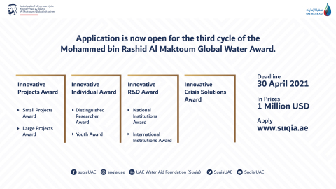 Suqia UAE开放第三届Mohammed bin Rashid Al Maktoum全球水资源奖报名并增加新的奖项类别(照片:AETOSWire)