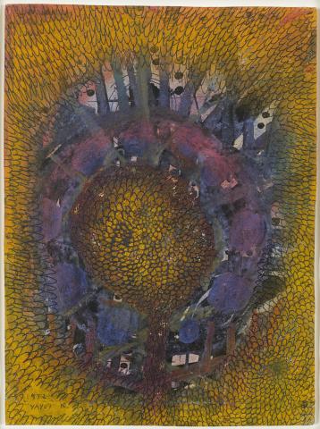 Kusama,《Little Flower》, 1952年,水粉画,彩色粉笔,油墨,纸本,11.5 x 8.5 英寸(照片:美国商业资讯)