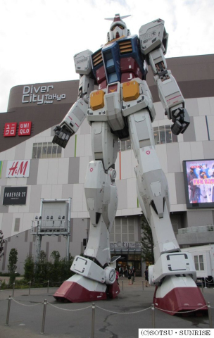 The full-scale GUNDAM, currently located in Odaiba, Tokyo