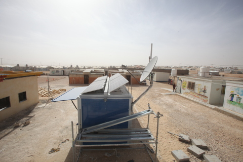 SES And SOLARKIOSK Bring Power and Internet to an Education Centre in a Jordanian Refugee Camp (Photo: Business Wire)