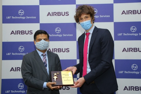Abhishek Sinha, Chief Operating Officer and Board Member LTTS with Rémi Maillard, President & Managing Director, Airbus India & South Asia, commemorate LTTS joining the Skywise Partner Program (Photo: Business Wire)