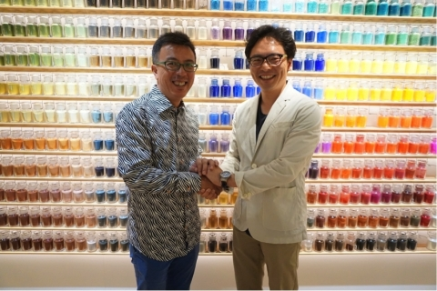 Left: Liu Xiaodong, Right: Taichi Iitsuka, Leader of Warehouse TERRADA Art Business Planning Project (Photo: Business Wire)